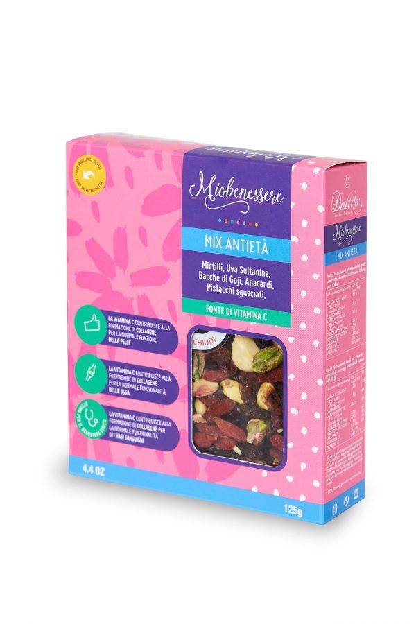 Mix antietà 125 g (bacche di goji, anacardi, mirtilli, uva sultanina, pistacchi sgusciati)
