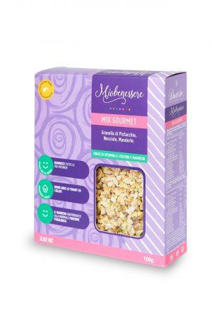 Mix gourmet 100 g (granella di pistacchi, granella di nocciole, granella di mandorle)