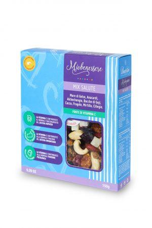 Mix salute 150 g (gelsi, anacardi, albicocche, bacche di goji, cocco, fragole, mirtillo, ciliegie)