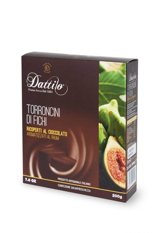 Torroncini di fichi ricoperti al cioccolato ed aromatizzati al rhum