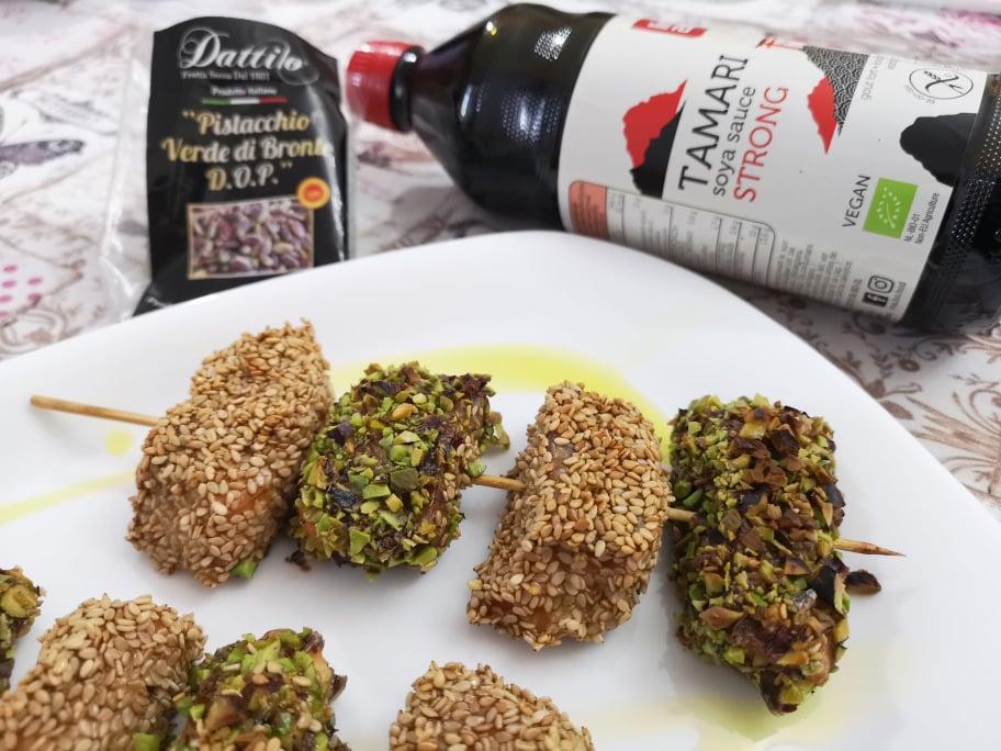 ricetta spiedini di salmone croccante